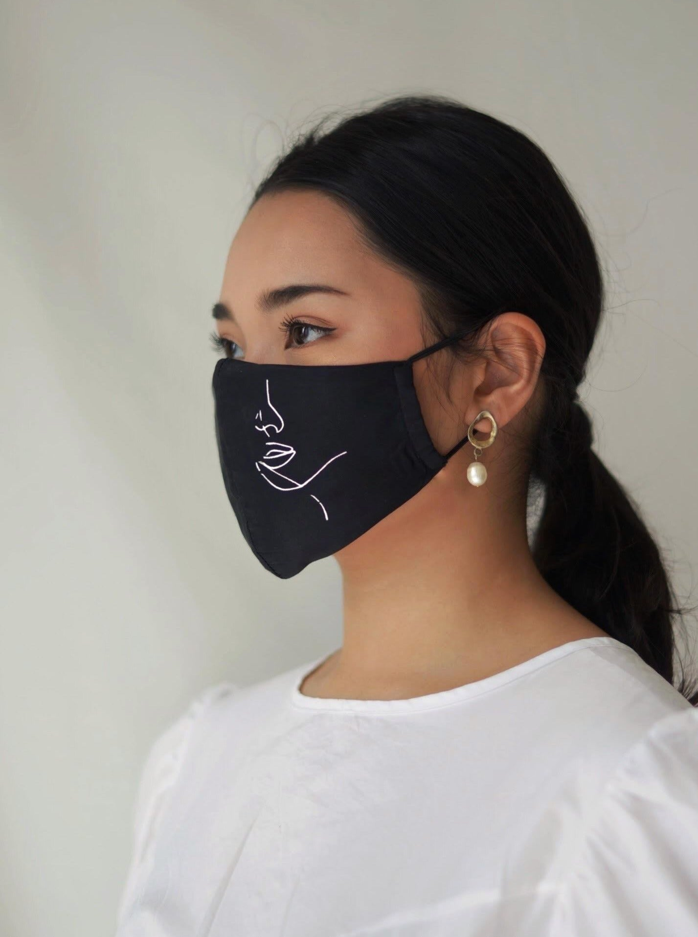 [Pre Order] Hanya Embroidered Face Mask with Ear Loop in Black