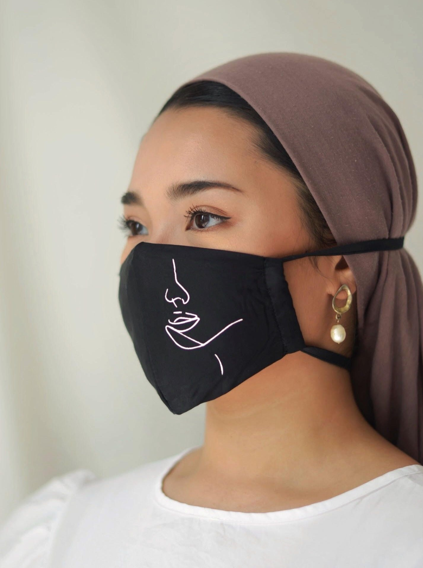 4-ply: Hanya Embroidered Face Mask with String Extension in Nude