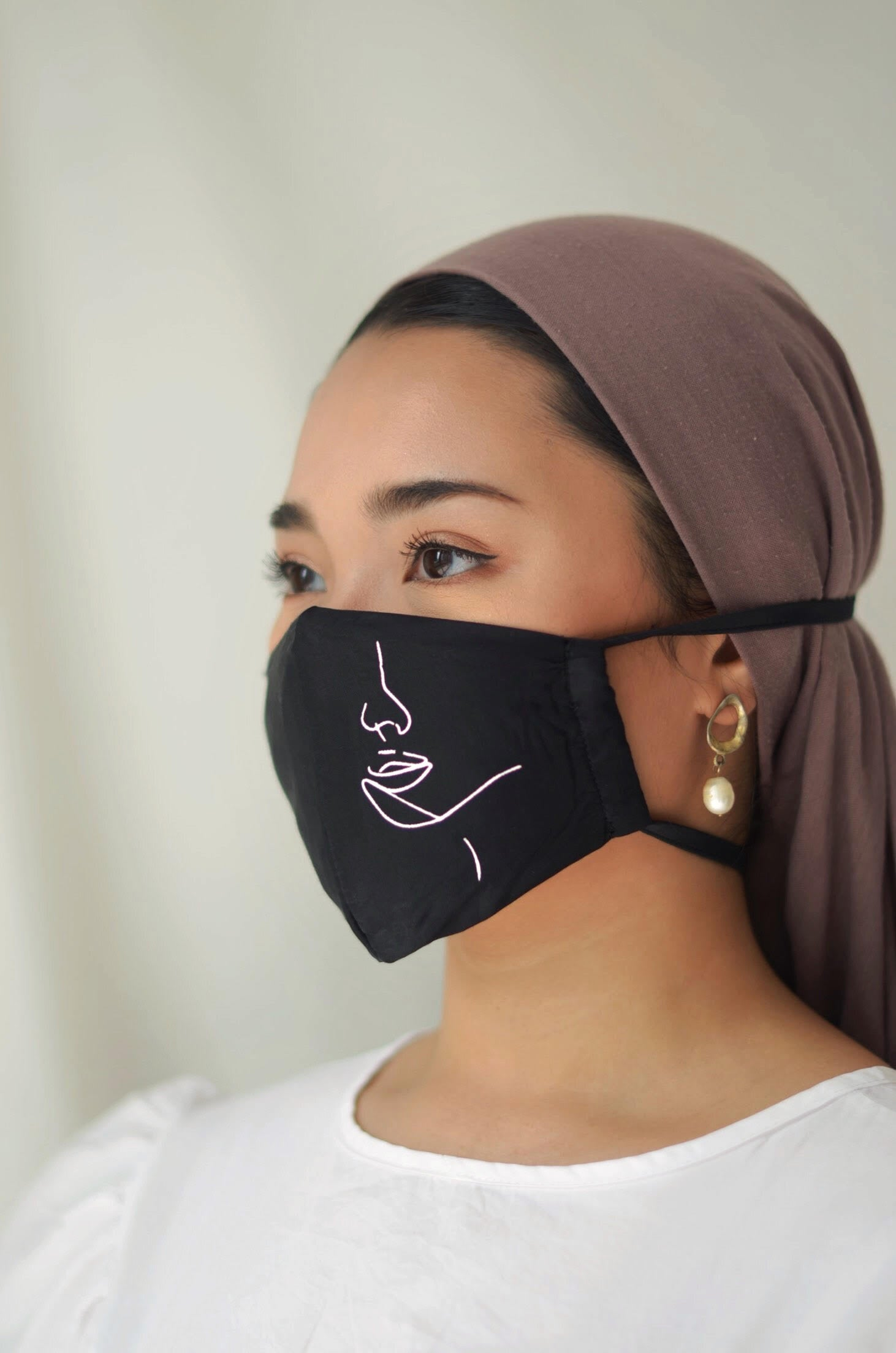 Hanya Embroidered Face Mask with String Extension in Champagne