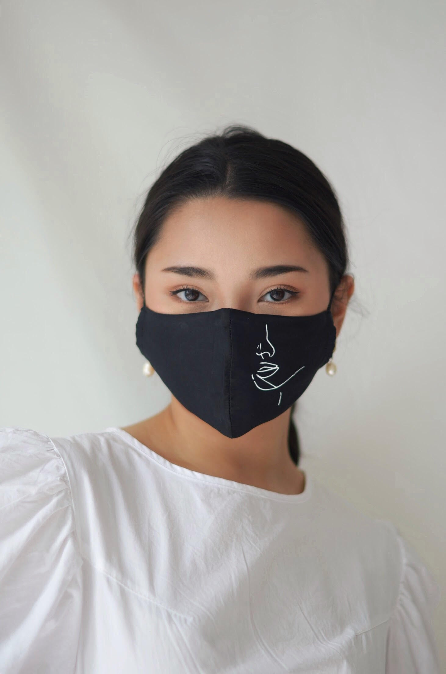 4-ply: Hanya Embroidered Face Mask with Ear Loop in Champagne