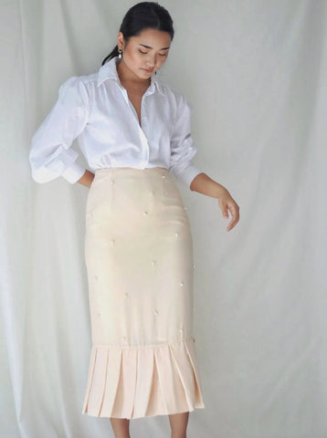 Alaia Pearl Skirt in Cream