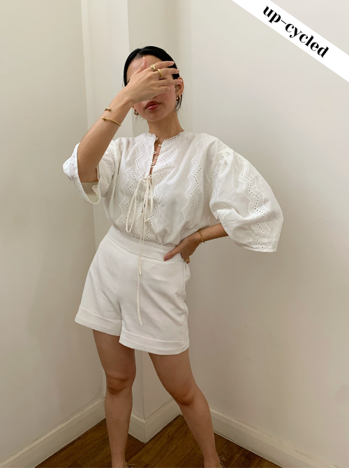 [Upcycle-ed]: Jul Top in White Cotton Lace