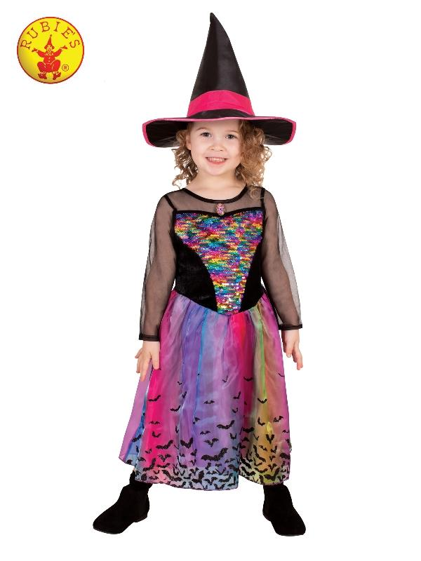 Rainbow Colour Magic Witch Deluxe Costume, Child
