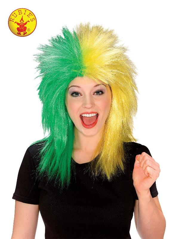 Sports Fanatic Green & Yellow Wig - Adult