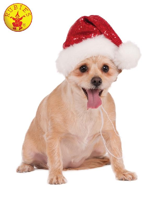 Sequin Santa Pet Hat, Red