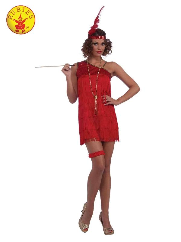 Sexy Ruby Red Dazzle Flapper Costume, Adult