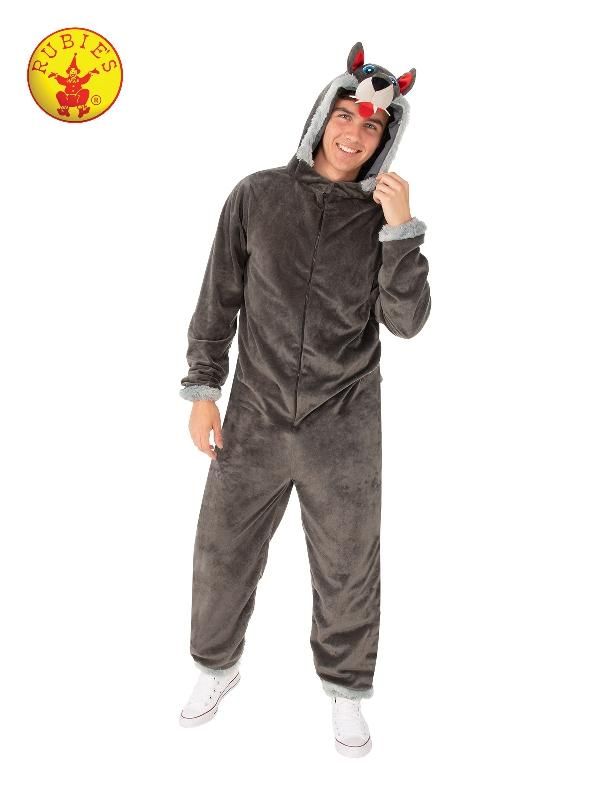 Wolf Hooded Onesie Costume, Adult