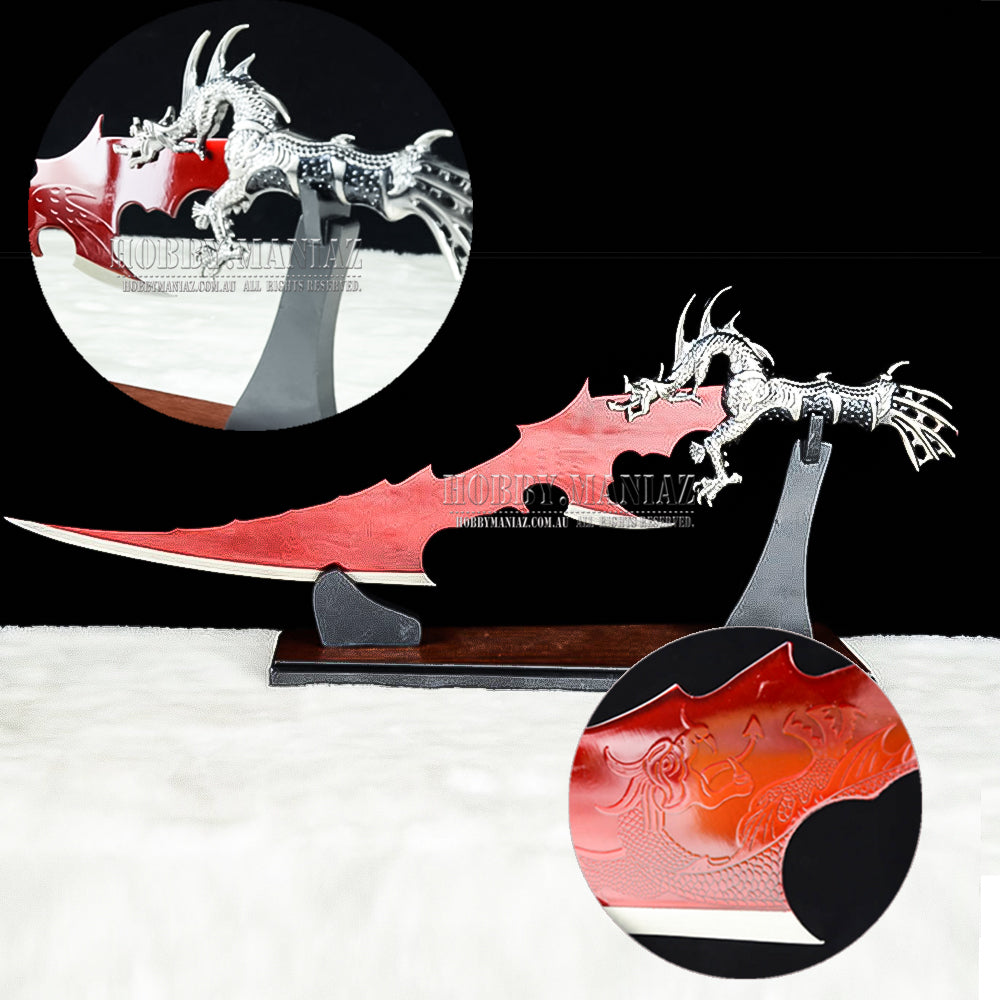 Fantasy Red Dragon Blade Large Dagger with Stand