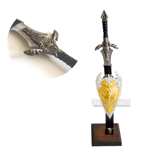 WoW Mini Anduin Lothar Display Sword Set With Stand