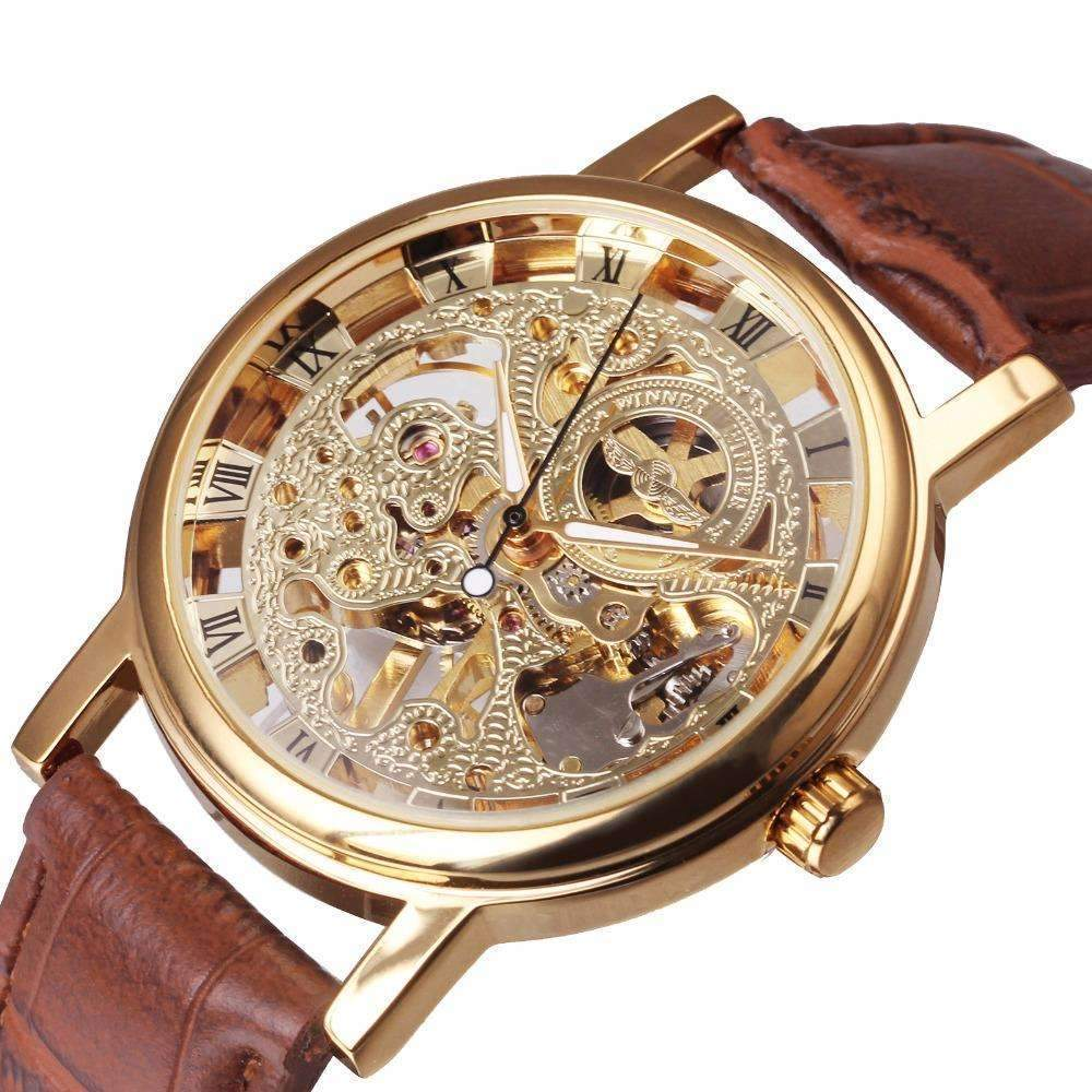 dp golden watch skeleton men ks auto ca mechanical brown carving amazon watches wrist leather s royal elegant