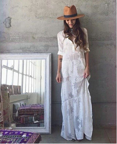 BOHO Slit Side Lace White Chiffon Maxi Dress