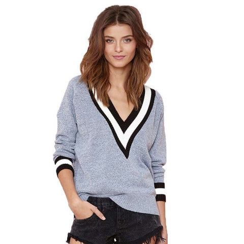 Women Spring Fashion Ribbed V Neck Long Sleeve Sweater