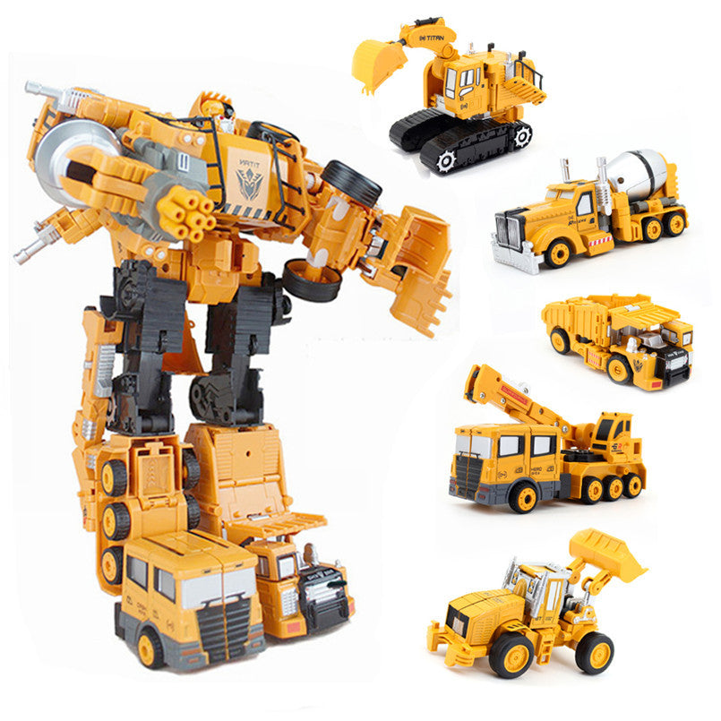 5 In1 Transformation Car Excavator Construction Truck Alloy Robot Toy