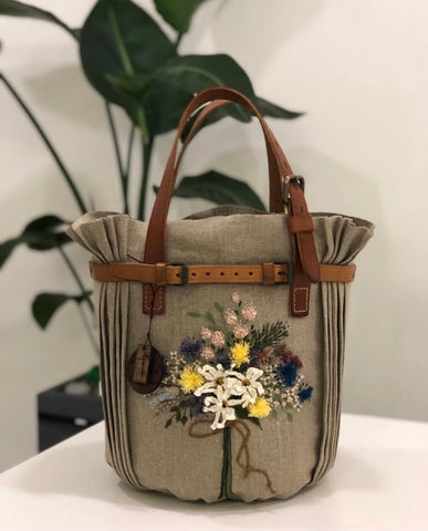 Flower Embroidery Handmade Bag