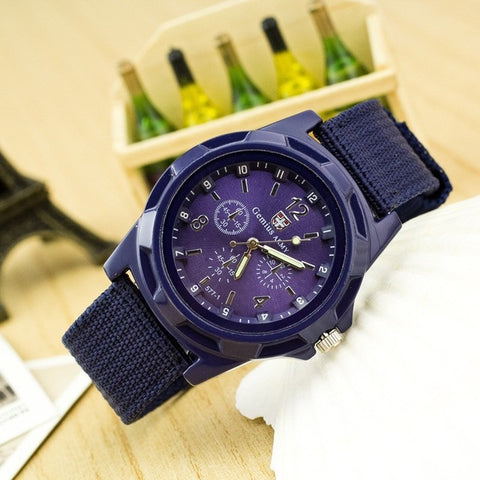 Casual Quartz Watch Army Soldier Canvas Strap