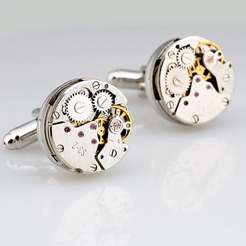 French style high quality stainless steel  gear watch movement mechanism cuff links