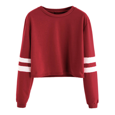 Round Neck Varsity Striped Long Sleeve Crop T-shirt