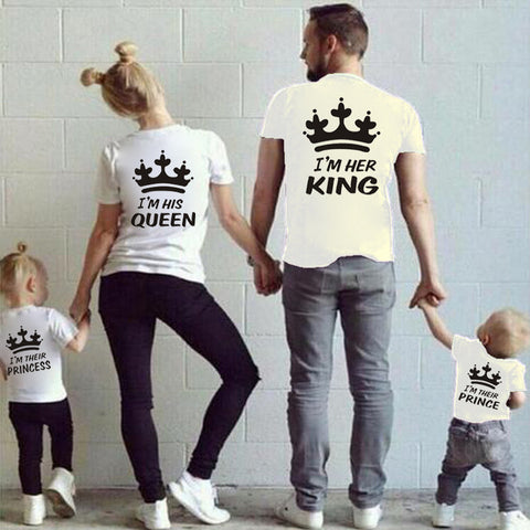 Family Matching Outfits Short Sleeve T-shirt King Queen Family Look