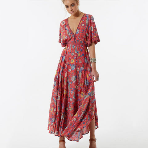 Long Flower Dress Retro Bohemian Maxi Dress