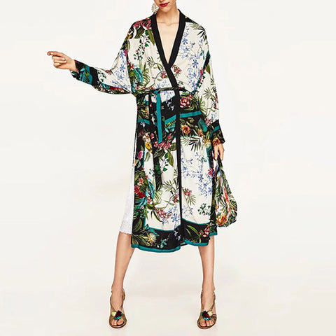 Vintage Leaves Flower Printed Sashes Kimono Shirt Dress
