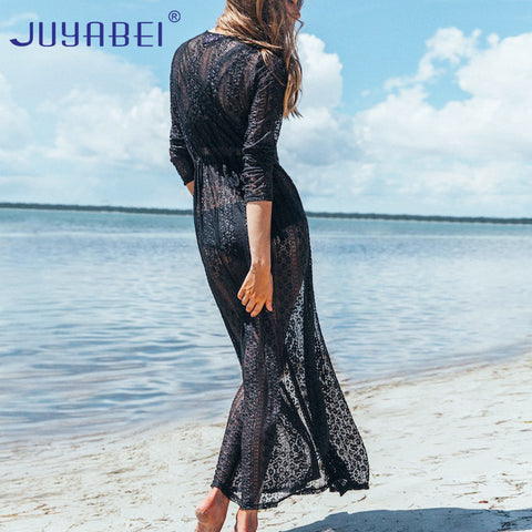 Beach Cover Up Solid Lace Robe