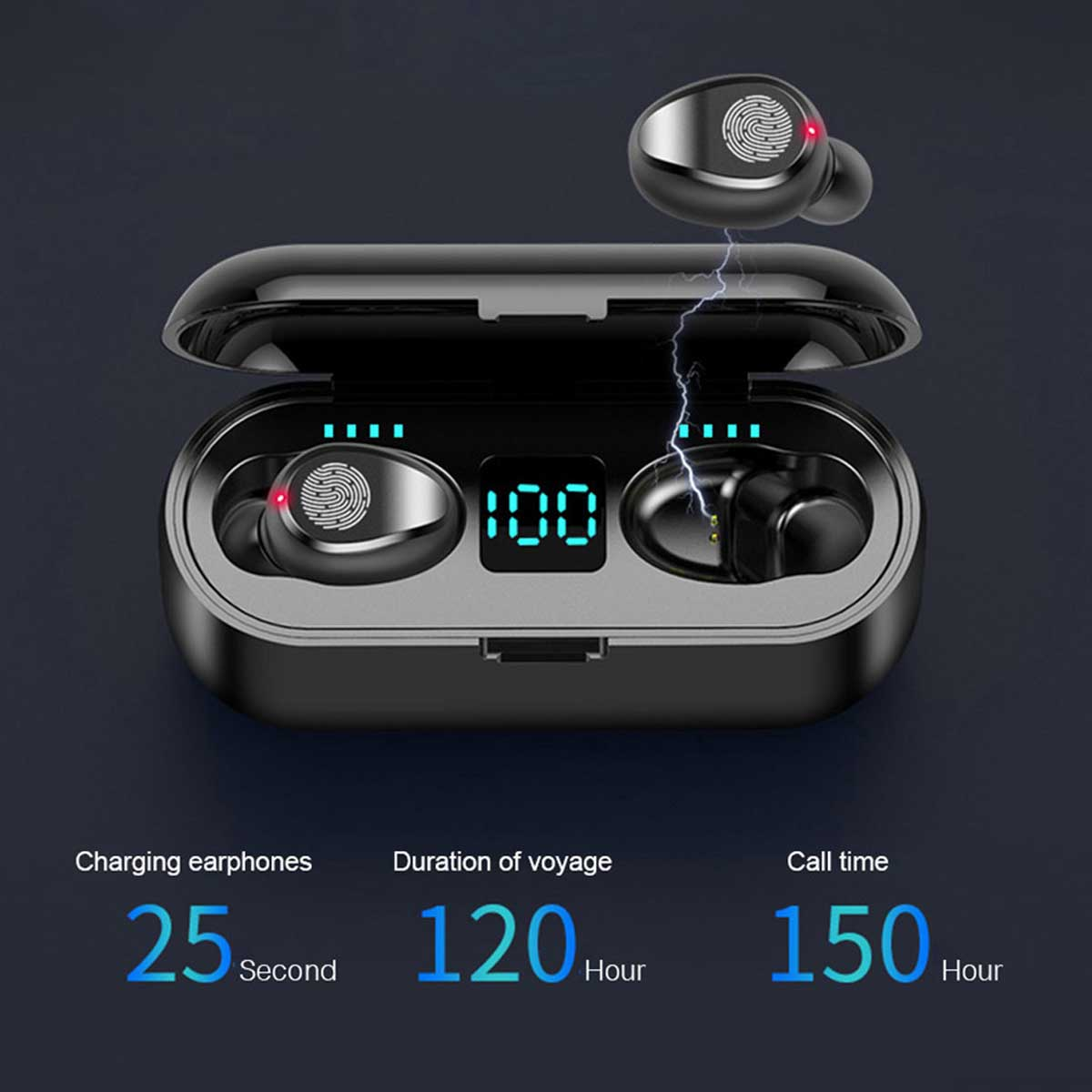 F9 True Wireless Bluetooth 5.0 Earphones Fingerprint-touch Control LED Display Smart Earbuds with Charging Bin - Black