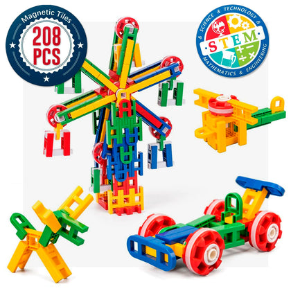 208 Pcs - Cossy STEM Learning Toy Engineering Construction Building Blocks 208 Pieces Kids Educational Toy for Boys and Girls Ages 3-9 Year Old