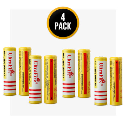 UltraFire 18650 3.7V 3600mAh Rechargeable Lithium Batteries Without Protection -Yellow
