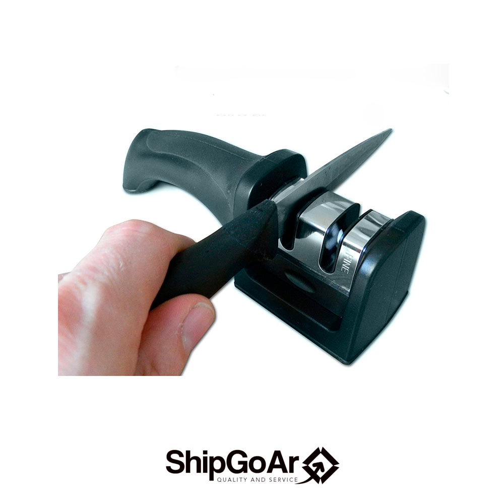 Kitchen Knife Sharpener - Designed for Safety, 2 Stage Sharpening, Black
