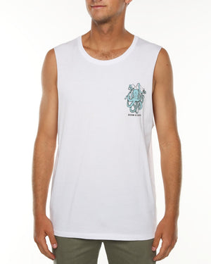 Mens Kraken Muscle Top - White