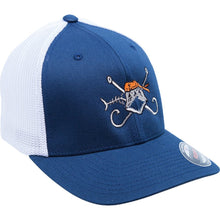 The Hook and Bones Fitted Trucker Mesh Cap in Blue