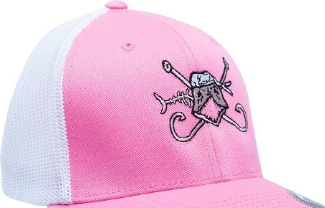The Hook and Bones Fitted Trucker Mesh Cap in Pink