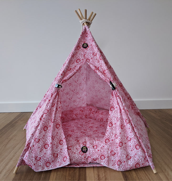 Ruby Swirl Dog Teepee Tent - Pebblina