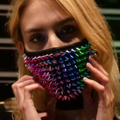Rainbow Spikes Studded Half Face Mask with Replaceable Filter