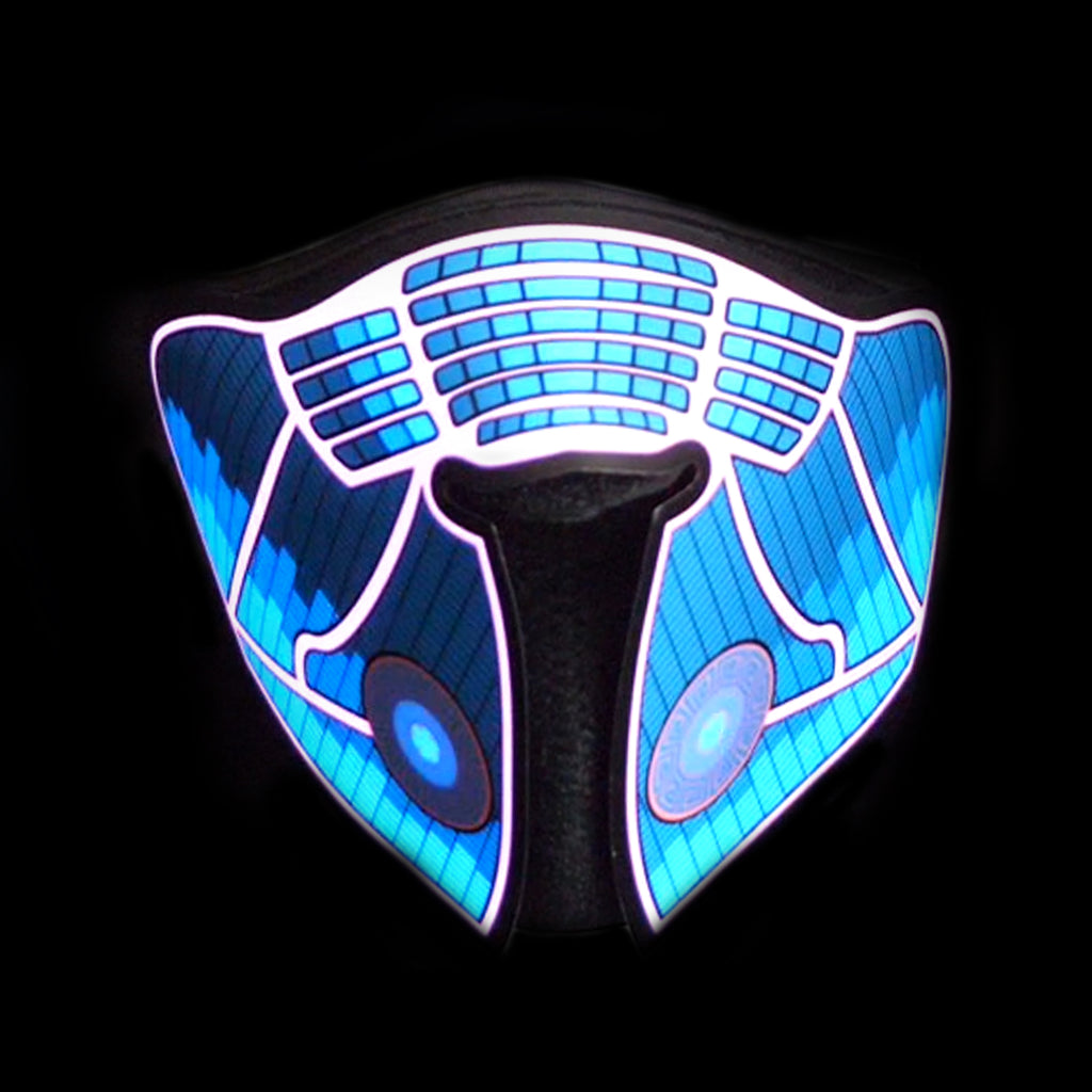 Sound Reactive LED Lighted Half Mask - Blue Equalizer