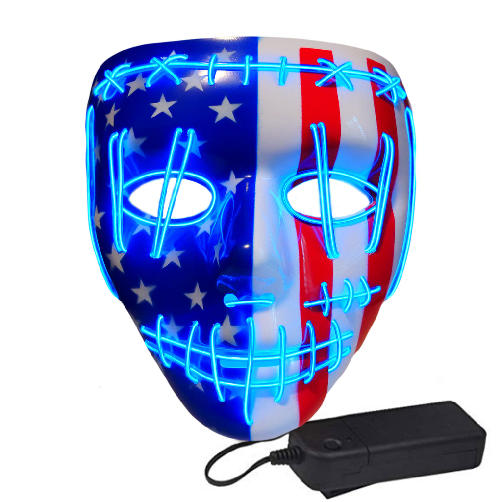 Stitched Vengeance LED Lighted Mask - American Flag