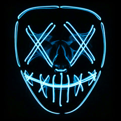 Stitched LED Lighted Mask (Outline) - Blue