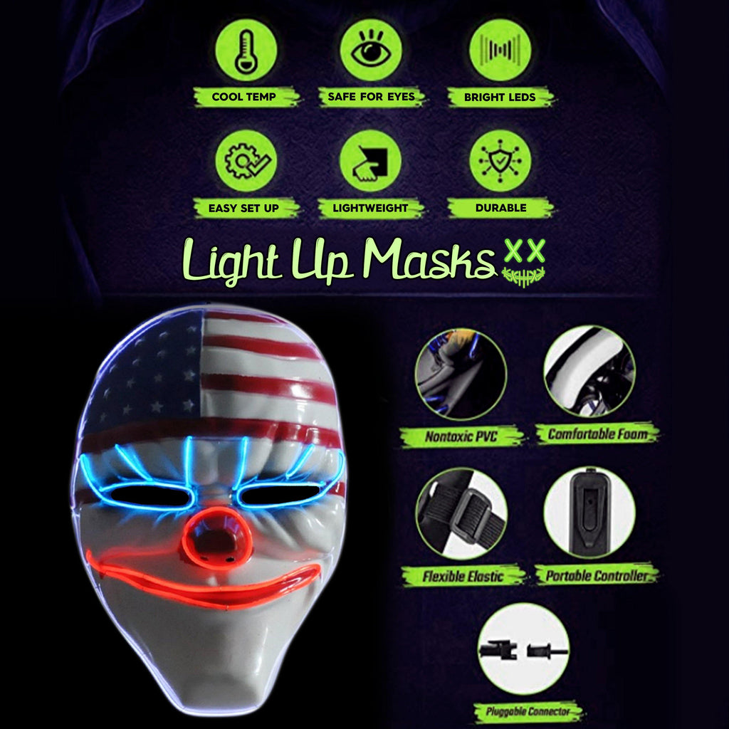 Dallas Clown LED Lighted Mask