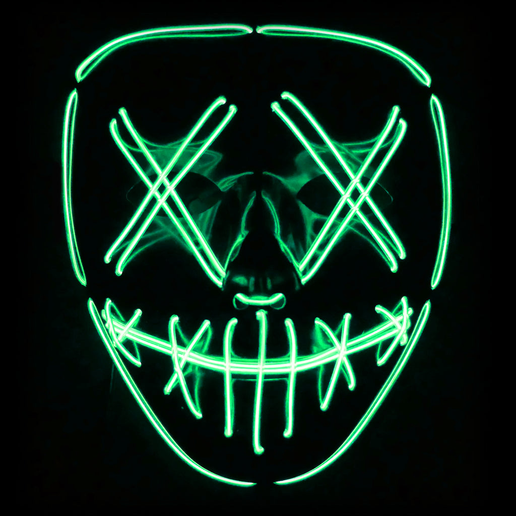 Stitched LED Lighted Mask (Outline) - Green