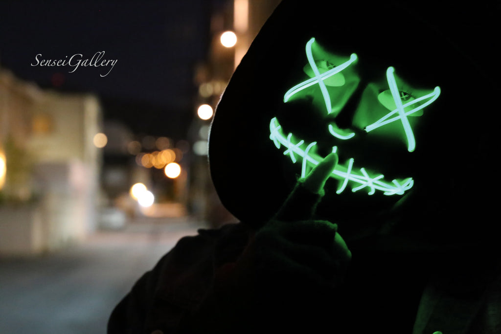 Stitched LED Lighted Mask - Green
