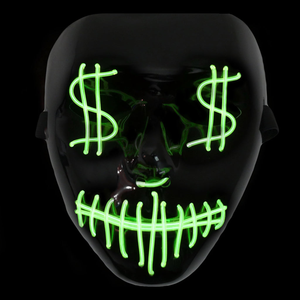 Money Eyes LED Lighted Mask - Green