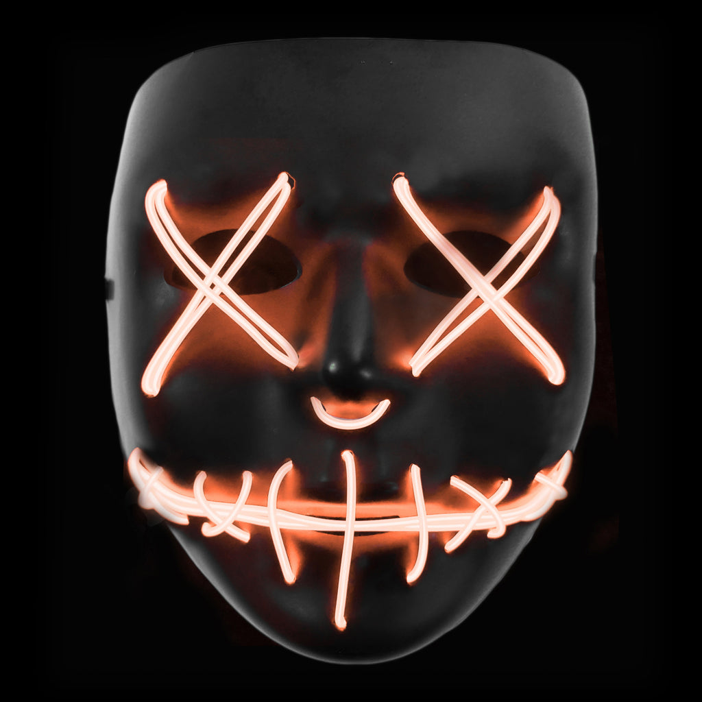 Stitched LED Lighted Mask - Orange