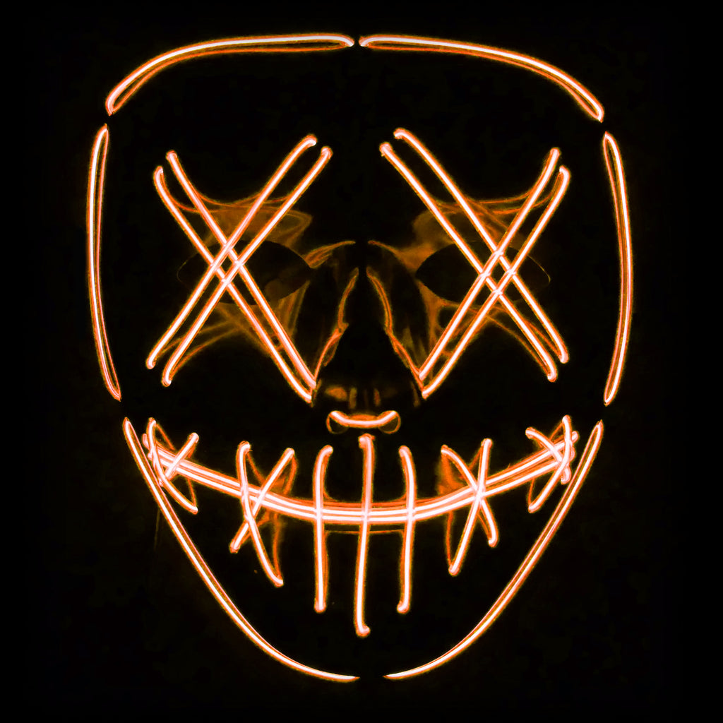 Stitched LED Lighted Mask (Outline) - Orange