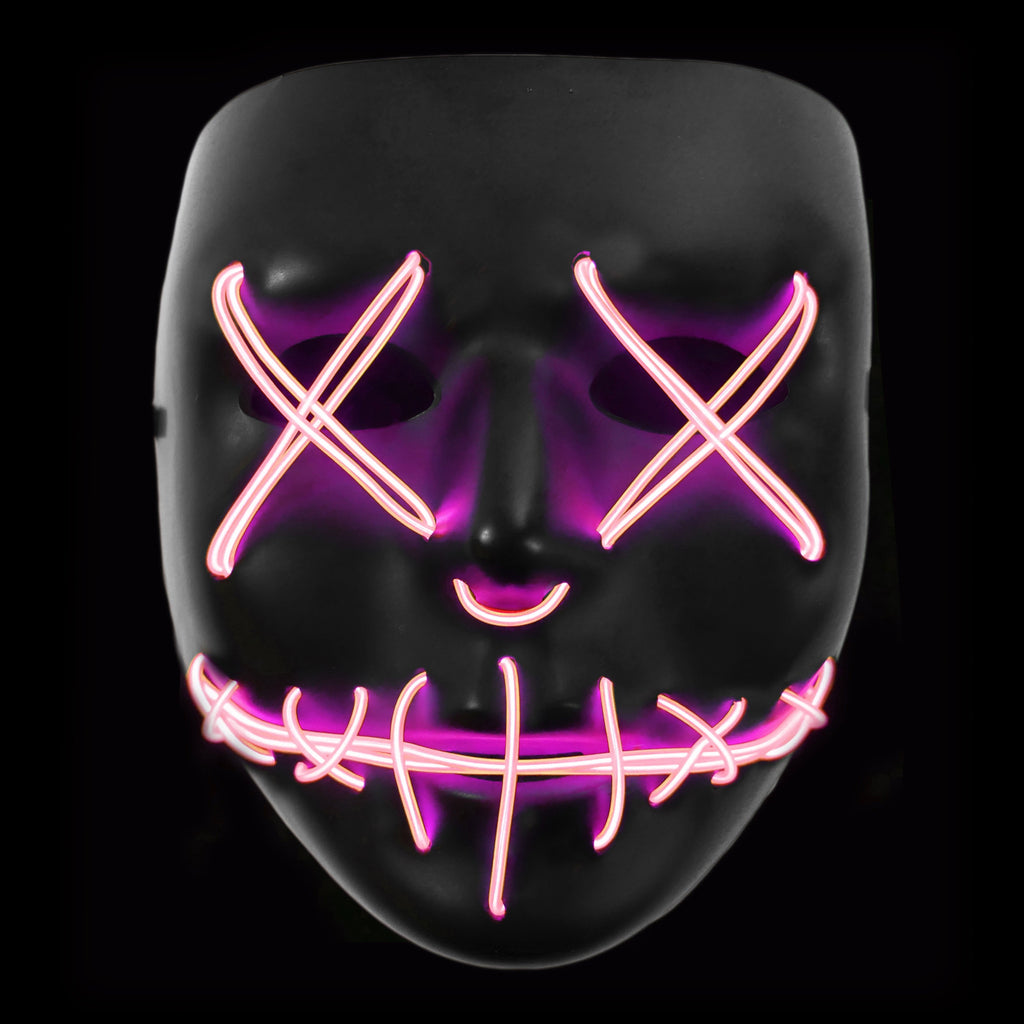 Stitched LED Lighted Mask - Pink