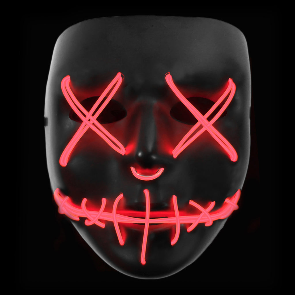 Stitched LED Lighted Mask - Red