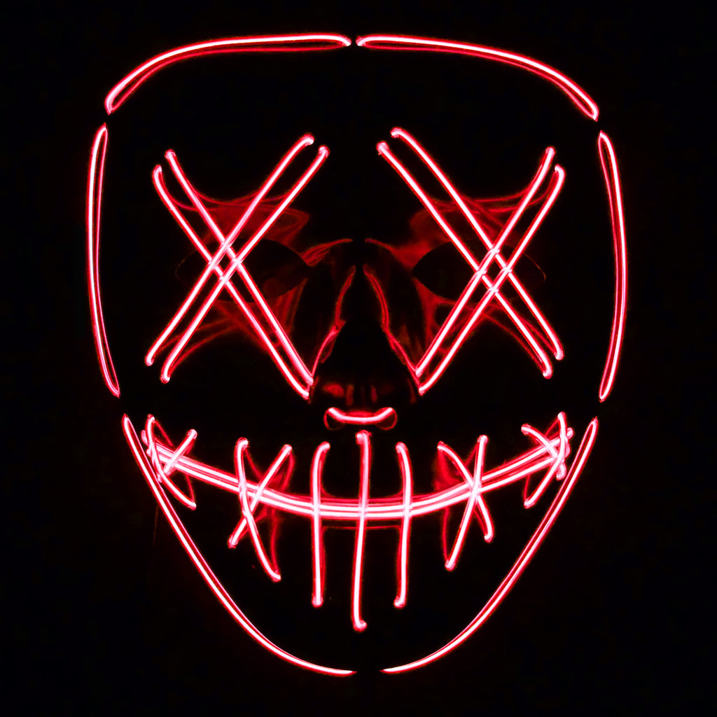 Stitched LED Lighted Mask (Outline) - Red