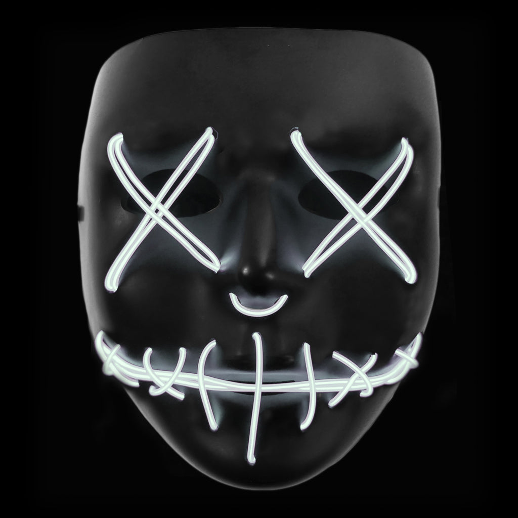 Stitched LED Lighted Mask - White