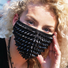 Black Spikes Studded Half Face Mask with Replaceable Filter