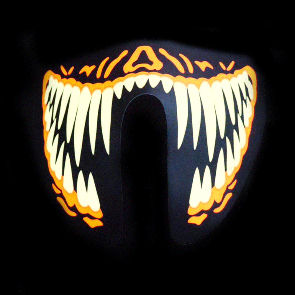 Sound Reactive LED Lighted Half Mask - Orange Teeth