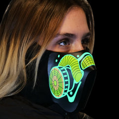 Sound Reactive LED Lighted Half Mask - Gas Mask